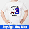 Sprinklecart Look Who's 3 Farm Vehicle T Shirt | Customized 3rd Birthday T Shirt