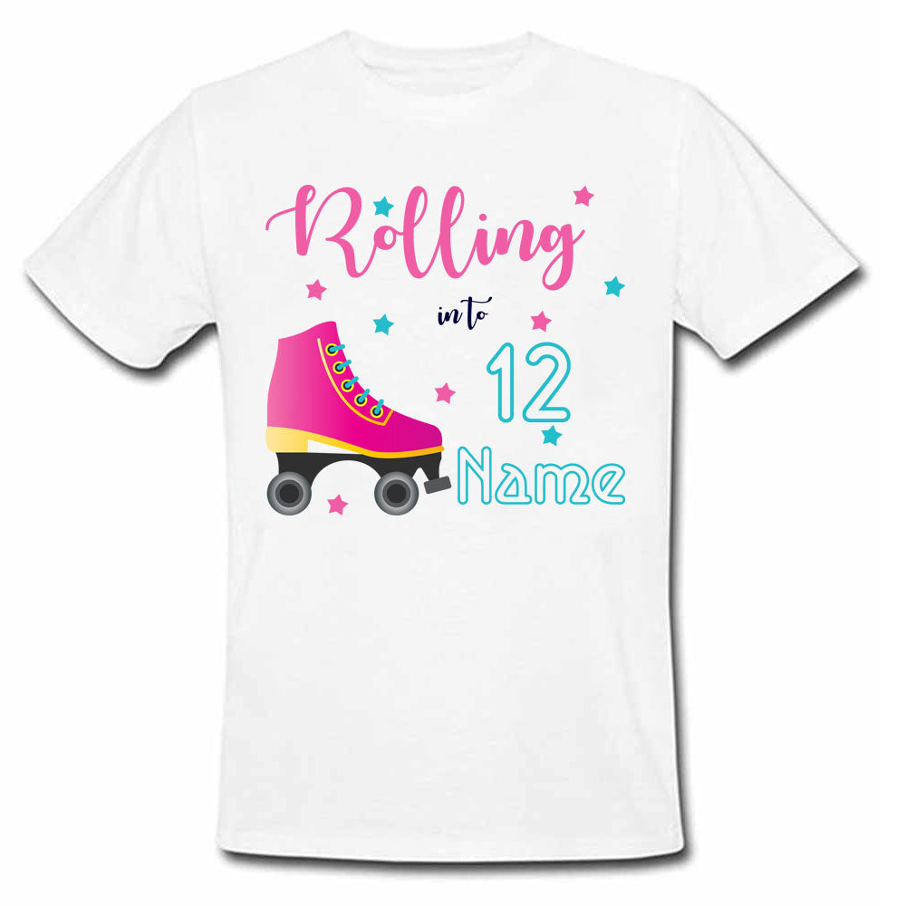Sprinklecart Rolling into 12 Printed Skater Shoe Customized Kids Poly-Cotton Tee (White)