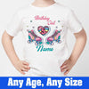 Sprinklecart Kids Personalized Name and Age Printed Skating Shoe Birthday Poly-Cotton T Shirt (White)