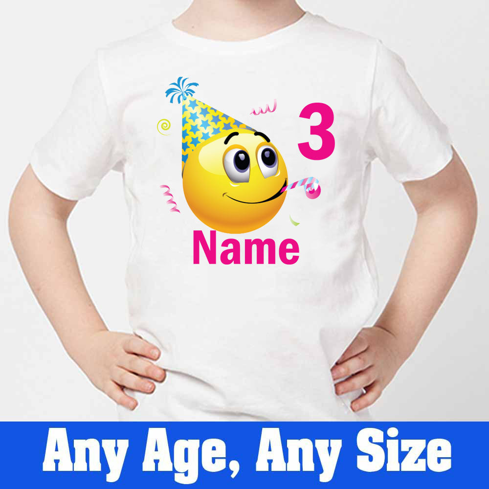 Sprinklecart Custom Name and Age Printed 3rd Birthday Emoji Kids Poly-Cotton Tee (White)