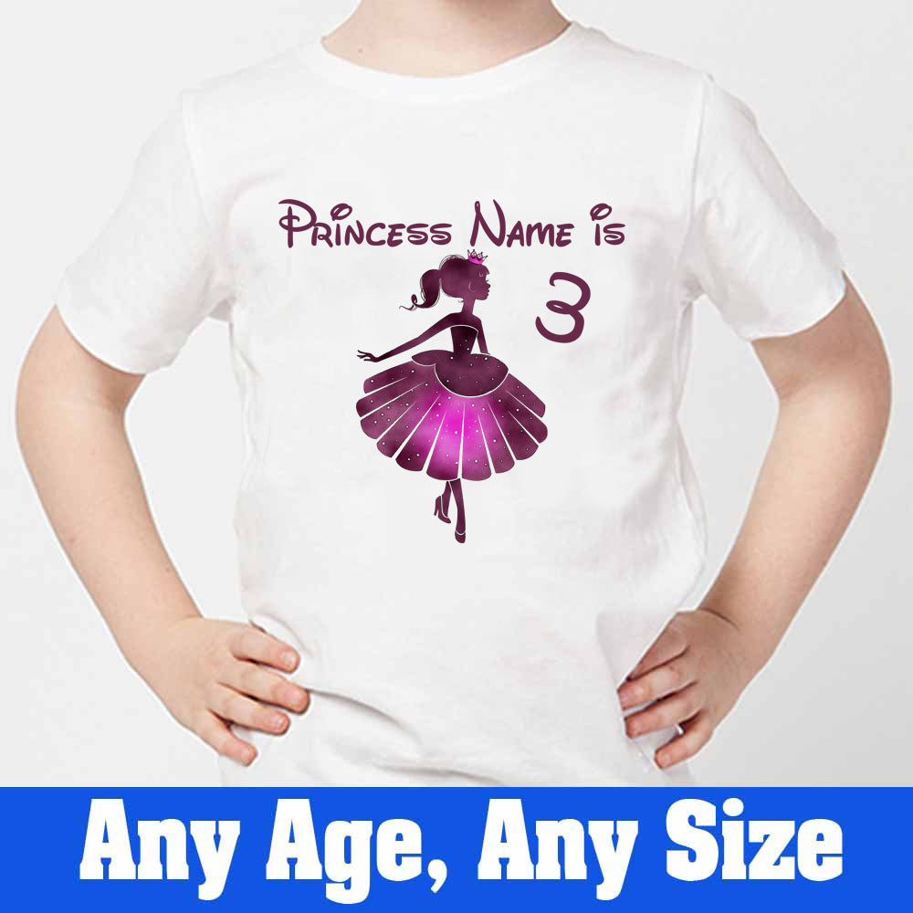 Sprinklecart Personalized Princess 3rd Birthday Kids Poly-Cotton T Shirt Gift (White)