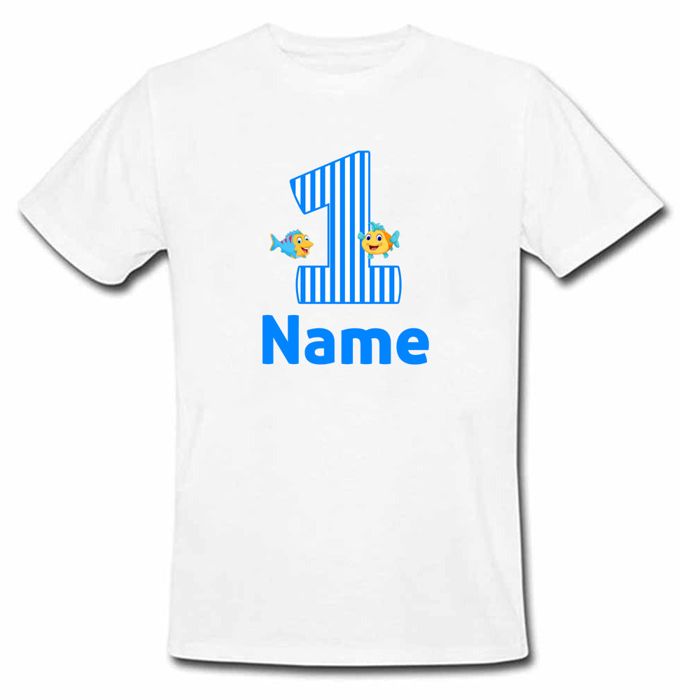 Sprinklecart Custom Name and Age Printed Birthday T Shirt | Personalized Fish Birthday Wear