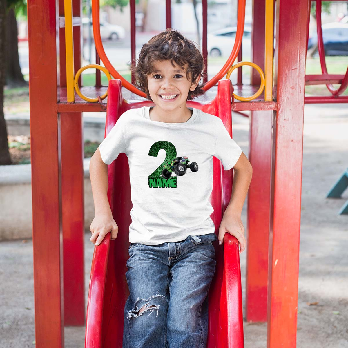 Sprinklecart Custom Name and Age Printed Vehicle T Shirt for Boys | Personalized 2nd Birthday Wear