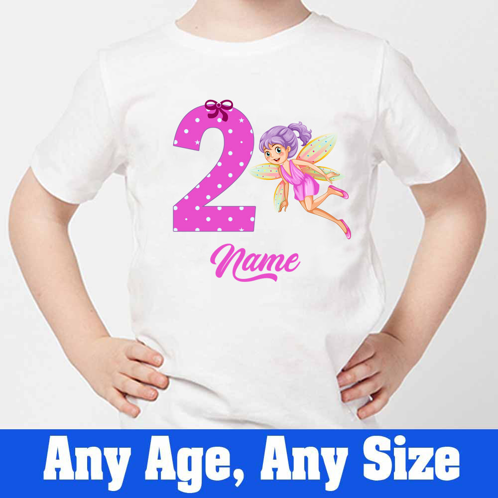 Sprinklecart Custom Name and Age Printed Little Fairy Birthday Dress | Customized 2nd Birthday T Shirt