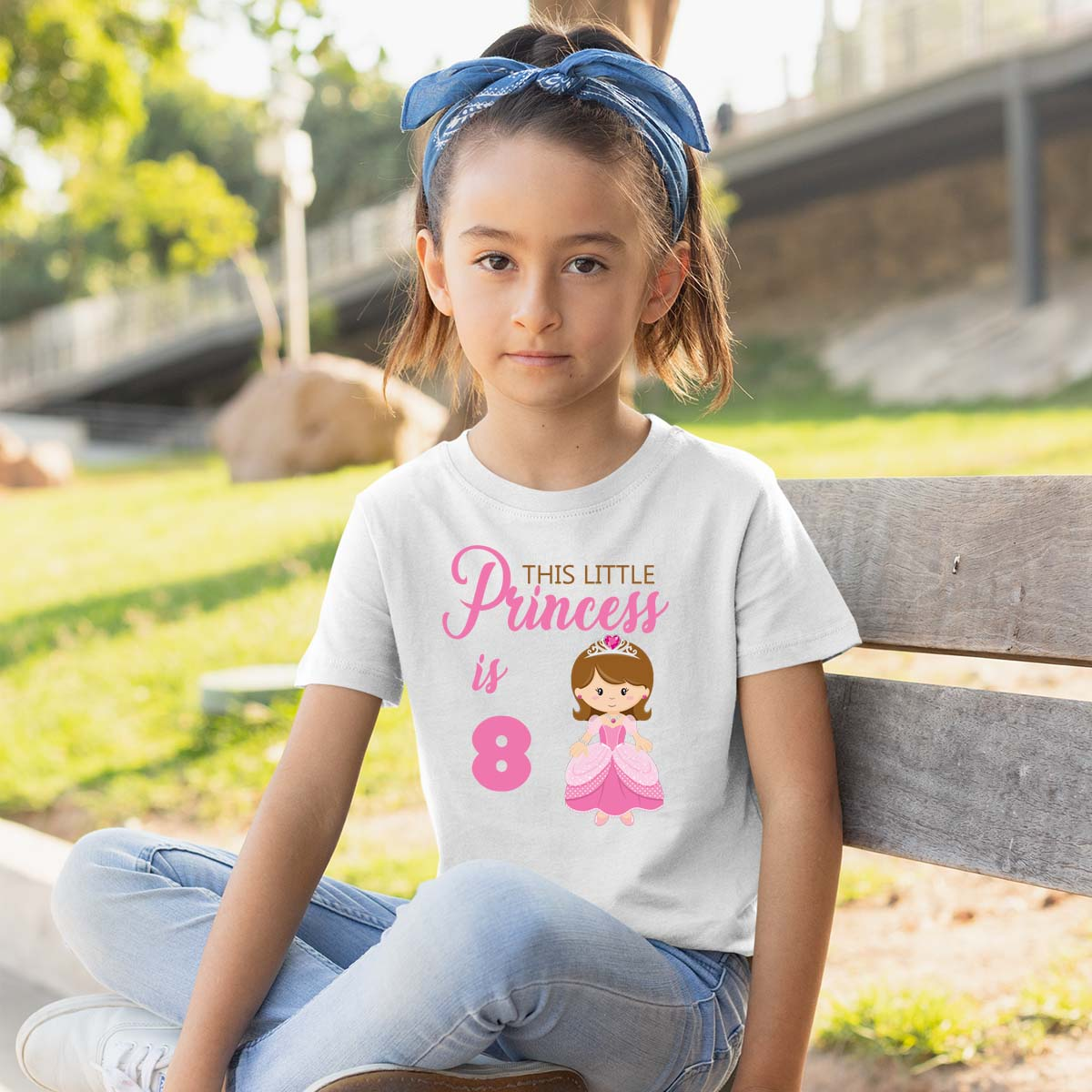 Sprinklecart This Little Princess is 8 Printed Birthday Dress | Personalized Birthday T Shirt