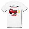 Sprinklecart Sound The Alarm Look Who's 3 Printed Fire Engine Birthday T Shirt | Customized Birthday Dress