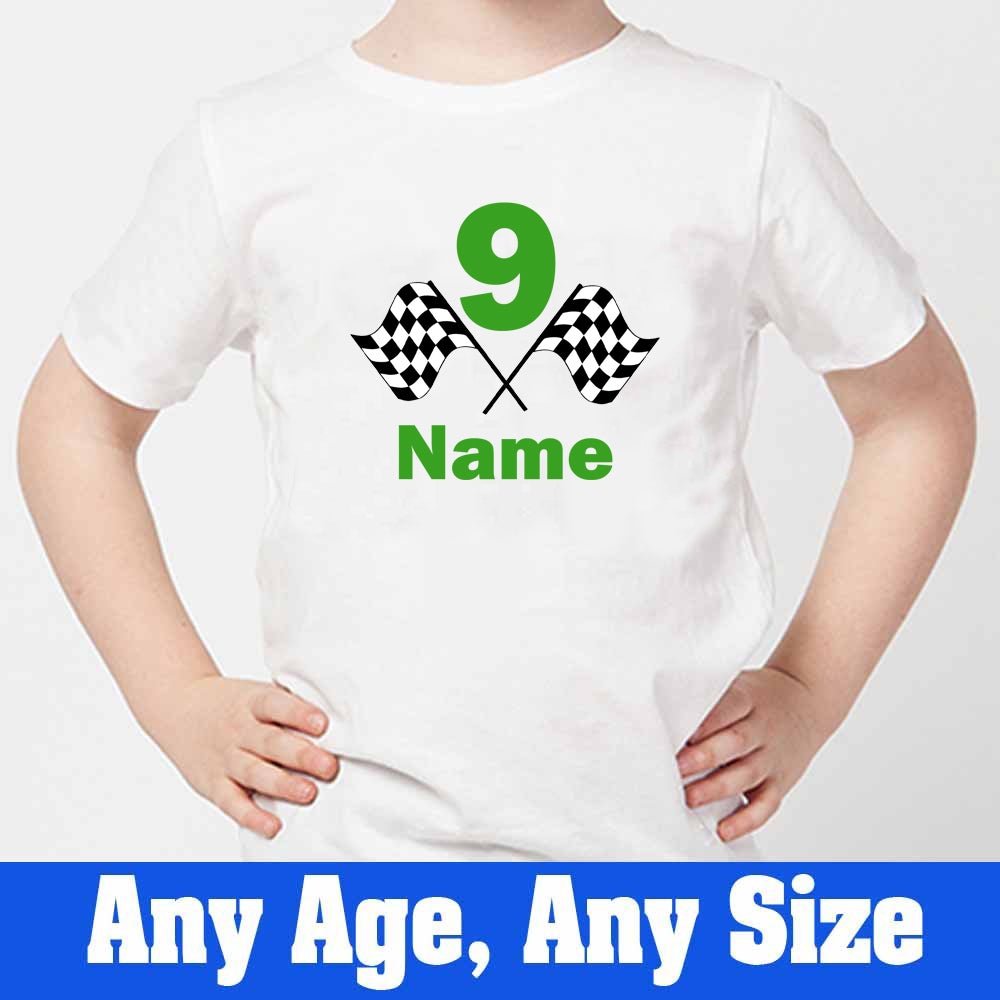 Sprinklecart Racing Flag 9th Birthday T Shirt | Personalized Name and Age Printed Birthday Wear