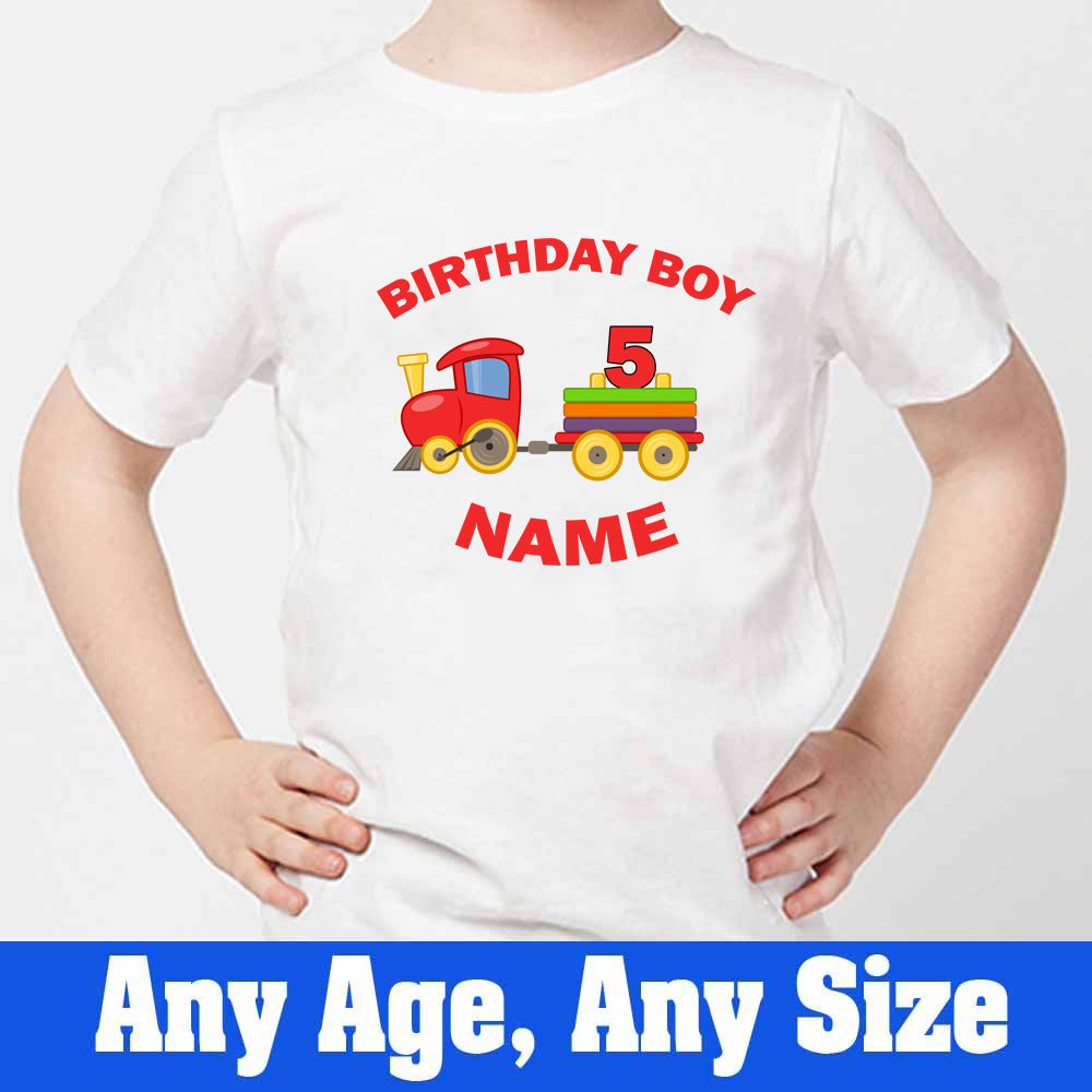Sprinklecart Customized Train Birthday Dress | Personalized 5th Birthday T Shirt for Boys