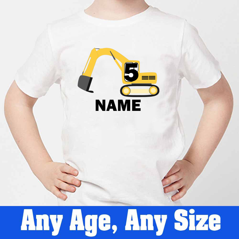 Sprinklecart Construction Vehicle T Shirt | Custom Name and Age Printed Birthday Wear