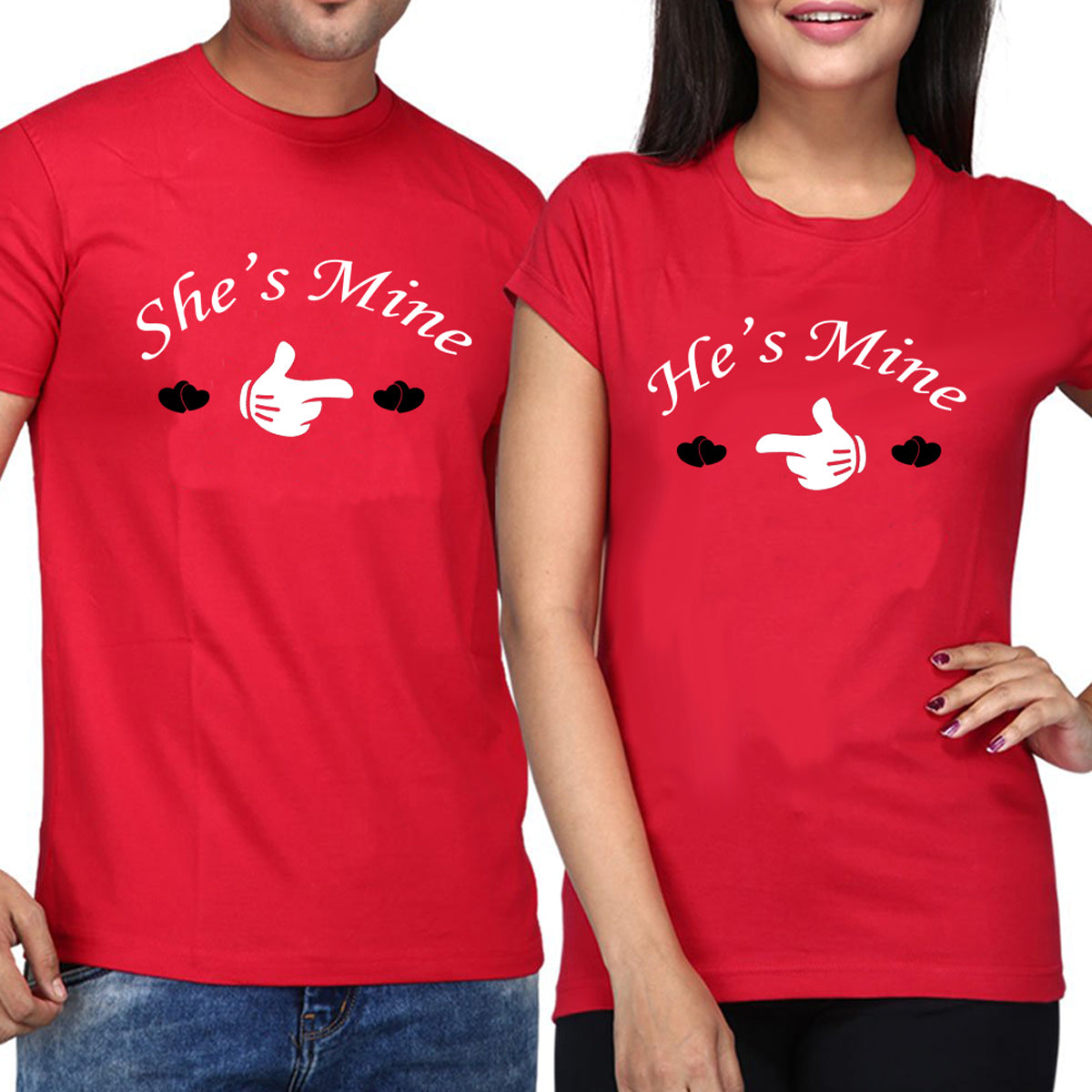Sprinklecart Ideal Cotton Couple T Shirt | Matching She's Mine He's Mine Printed T Shirt