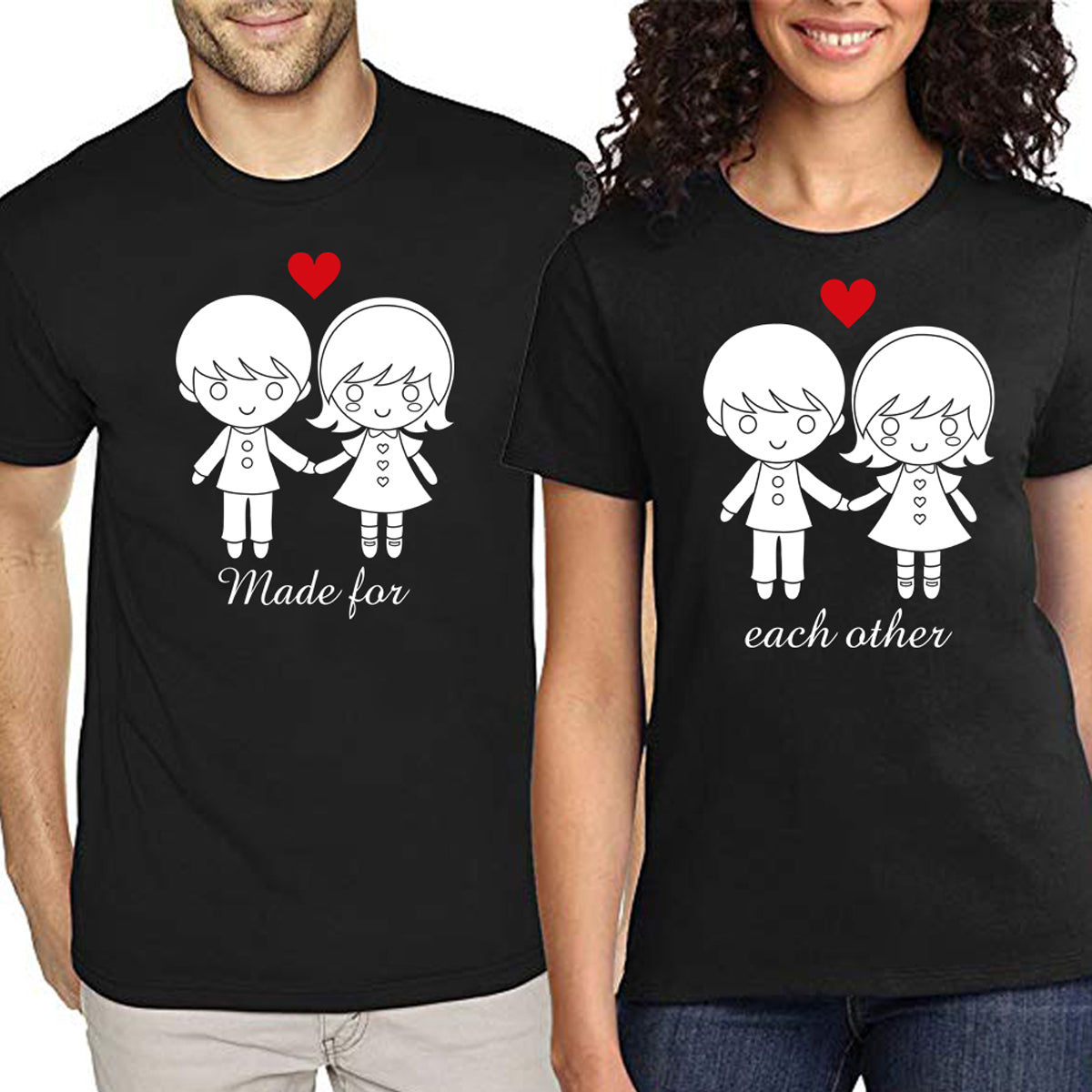 Sprinklecart Matching Made for Each Other Couple T Shirt | Combo of 2 CottonT Shirts