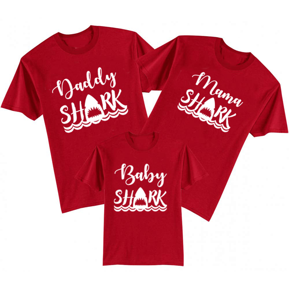 Sprinklecart Daddy Shark Mama Shark Baby Shark Printed Cotton Matching T Shirt
