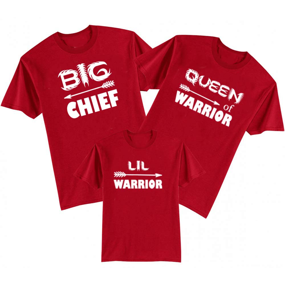 Sprinklecart Big Chief Lil Warrior Queen Warrior Family Cotton T Shirt Set for Women Men and Kid