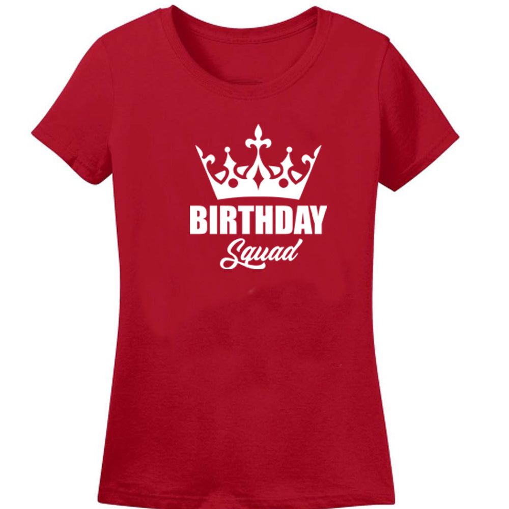 Sprinklecart Birthday Queen Birthday Squad Printed Women Men Kid Matching Cotton Family T Shirts