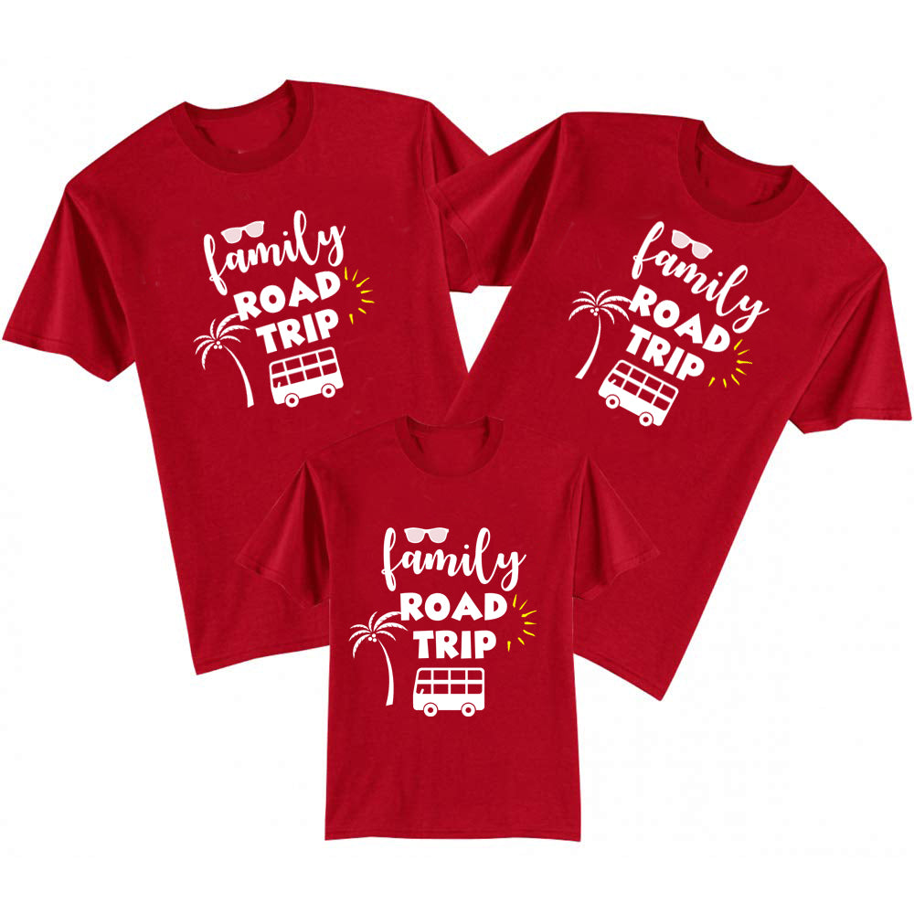 Sprinklecart Family Road Trip Printed Matching Family T Shirt for Family | Set of 3 Cotton T Shirts