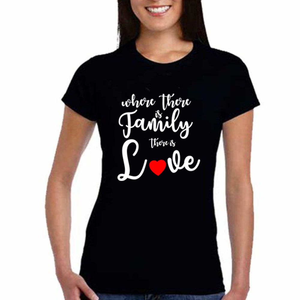 Sprinklecart Where There is A Family There is Love | Matching T Shirt for Faather Mother and Kid