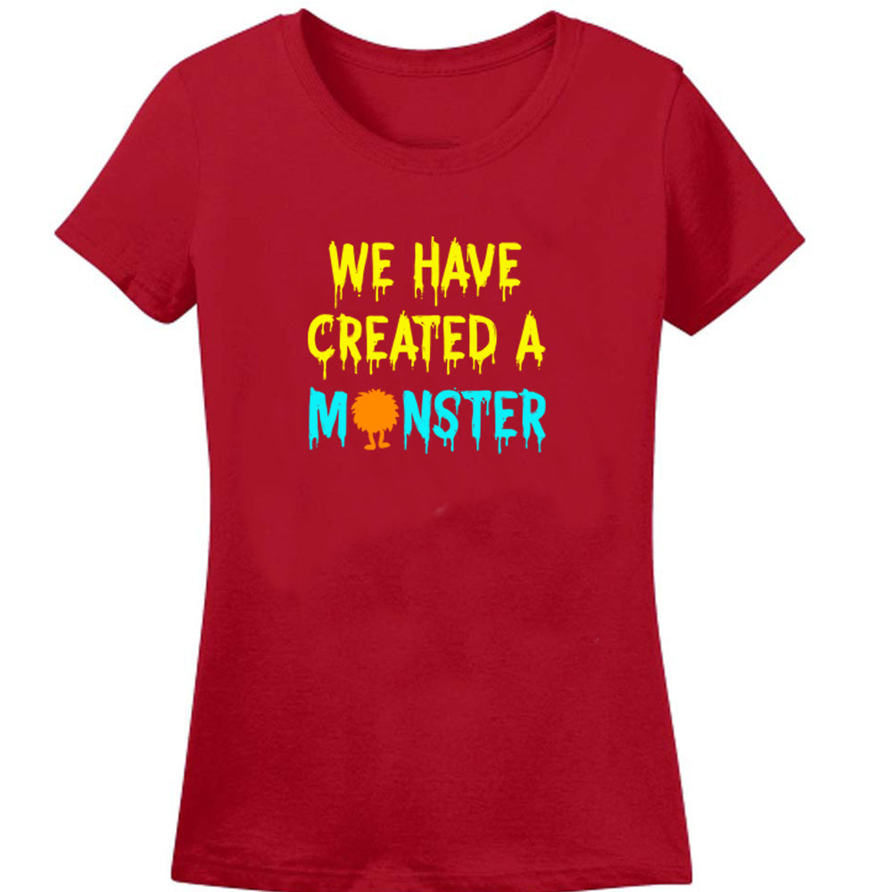 Sprinklecart Matching We Have Created A Monster and Little Moster Printed Cotton T Shirt
