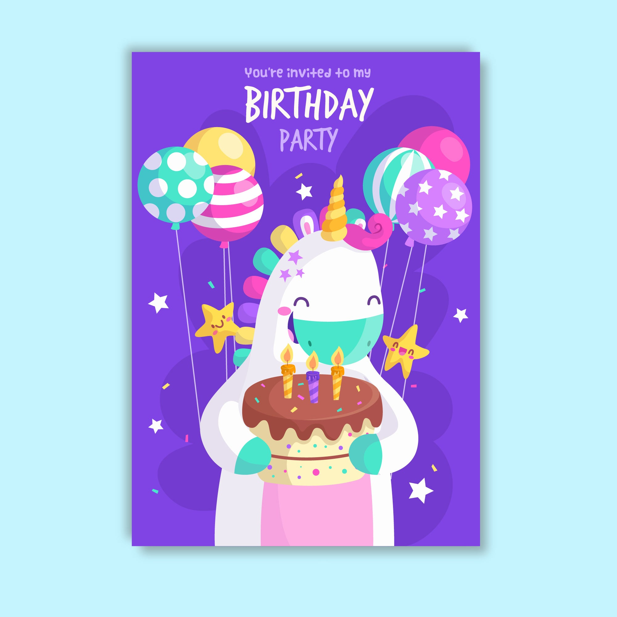 You Are Invited To My Birthday Party Unicorn Theme Invitation Card Set Of 25 Pcs