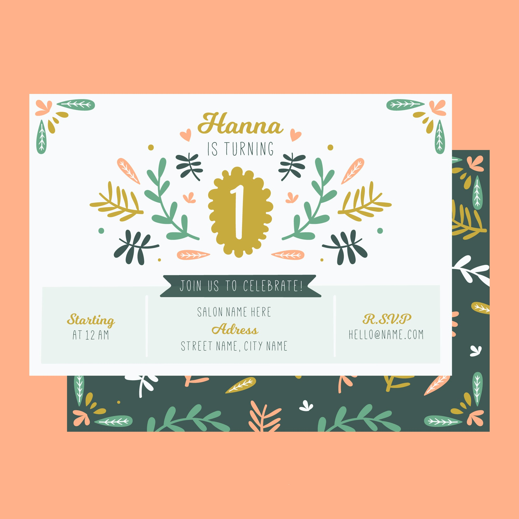 First Birthday Party Invitation Card Leaf Printed Theme Set Of 25 Pcs