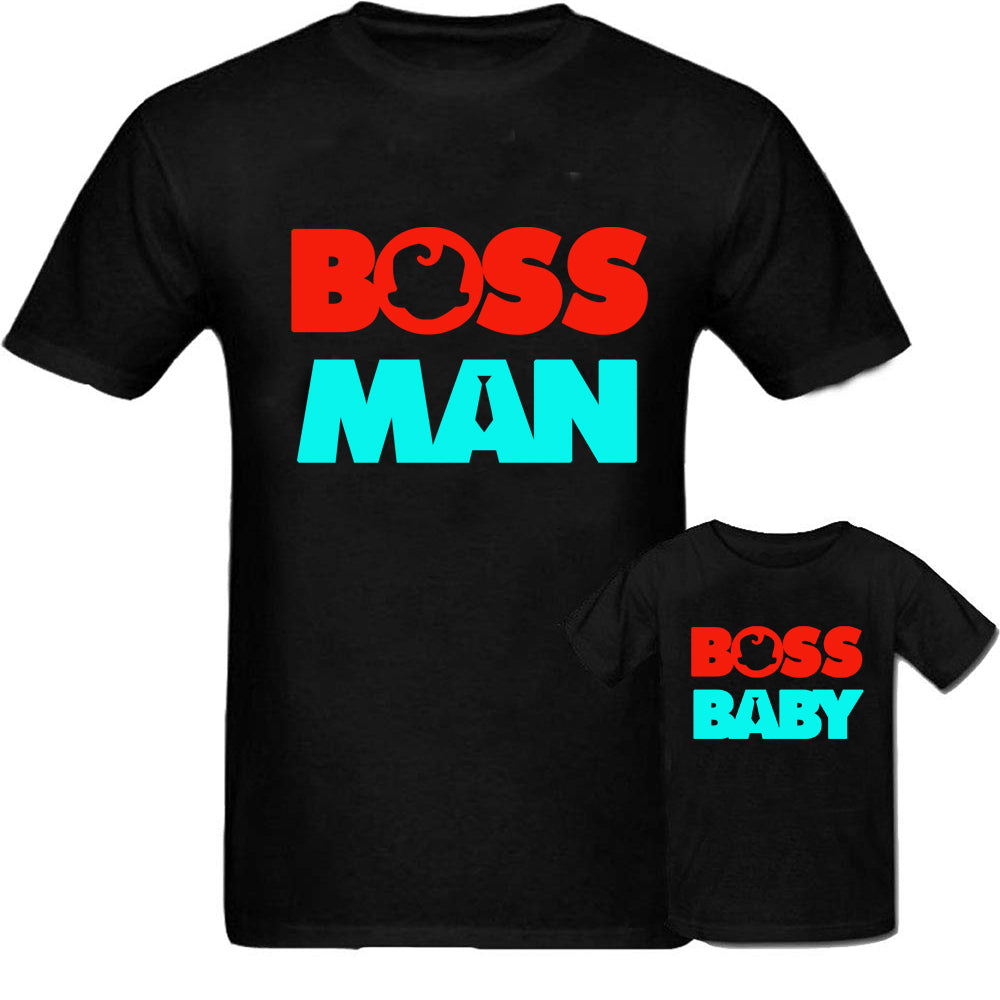 Sprinklecart Boss Man Boss Baby Printed T Shirts for Dad and Son | Set of 2 Black T Shirt
