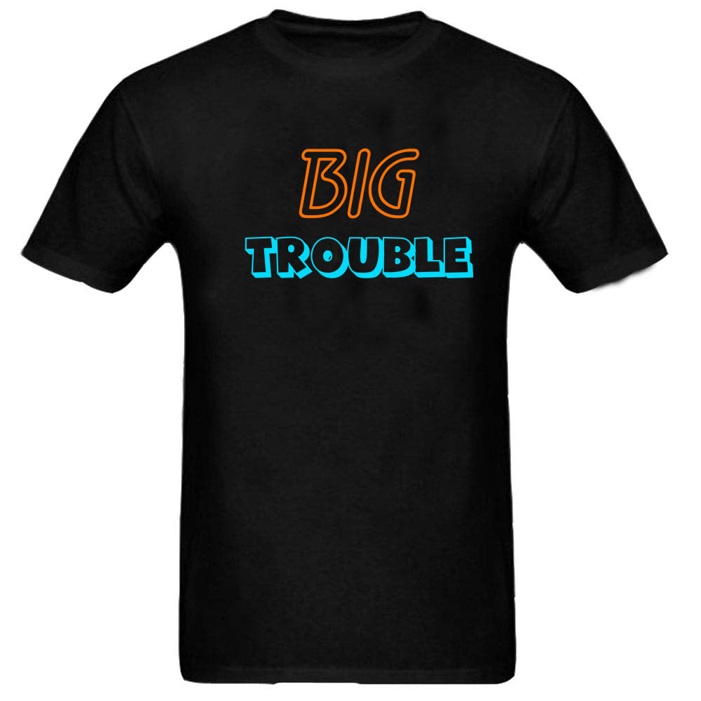 Sprinklecart Matching Black Cotton T Shirt | Big Trouble Little Trouble Printed T Shirt Set