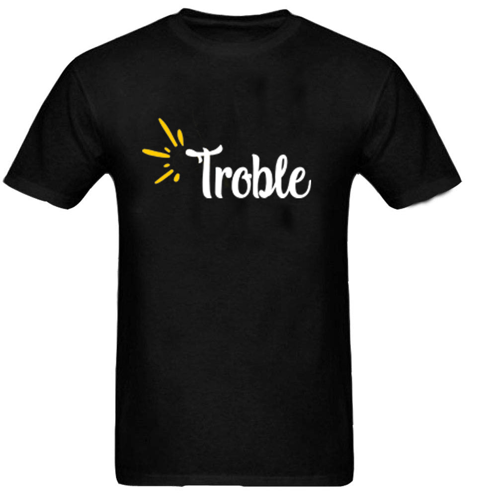 Sprinklecart Trouble Maker Trouble Printed Matching T Shirt for Father and Son (Black)