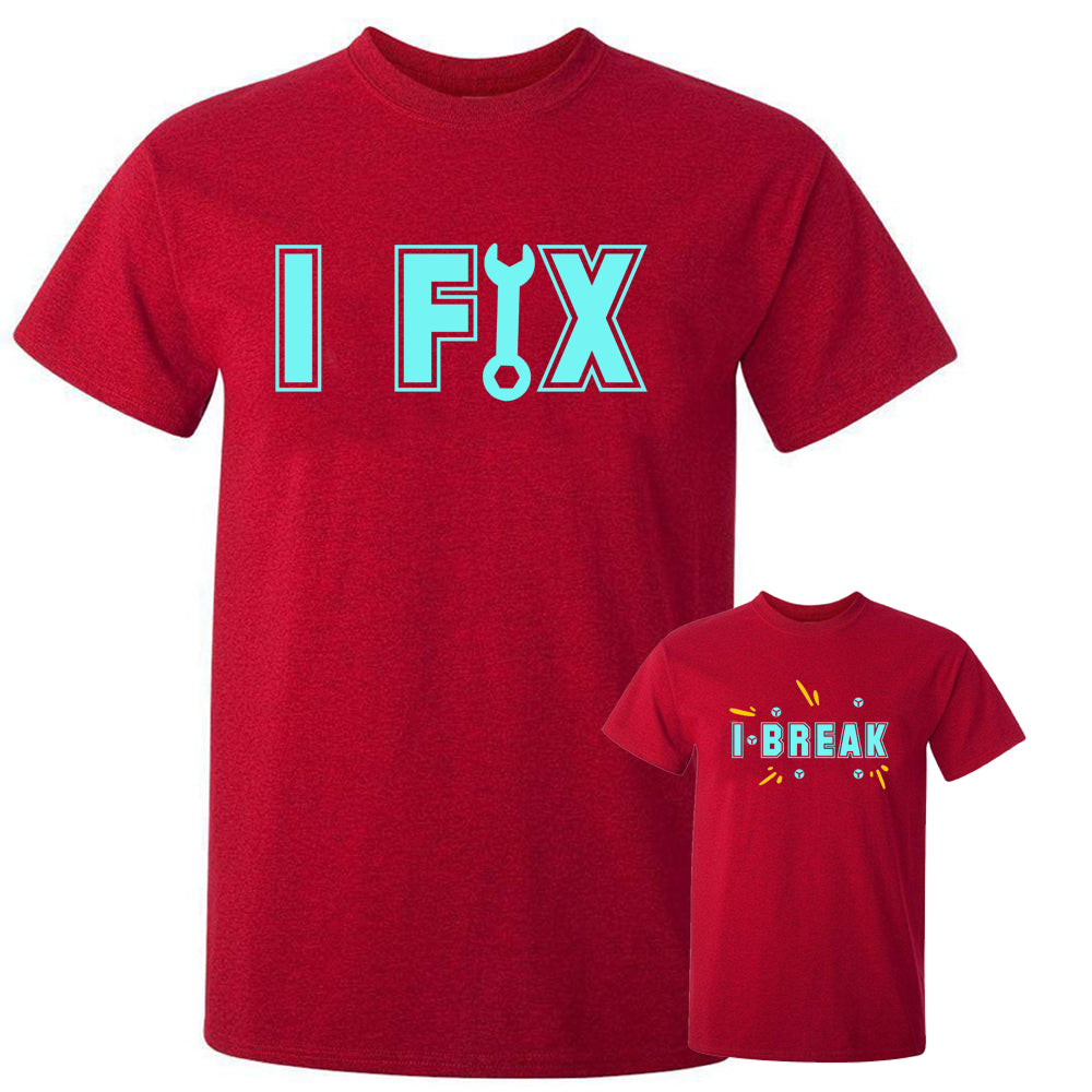 Sprinklecart Stylish I Fix I Break T Shirt Set | Combo of 2 Red T Shirt for Dad and Son
