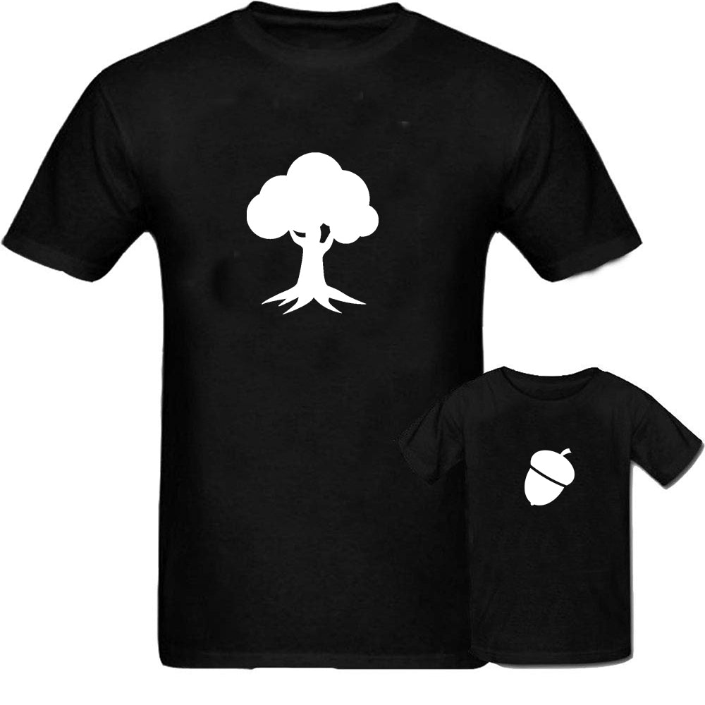 Sprinklecart Matching Acron Tree Themed Men Kid Cotton T Shirt Set for Dad and Kid (Black)