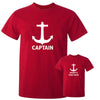 Sprinklecart Captain Daddy's First Mate Matching Cotton Men Kid T Shirt Combo for Dad and Kid (Red)