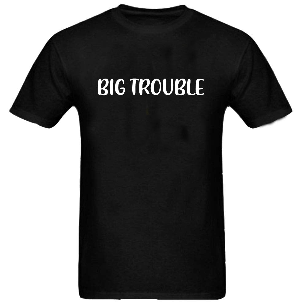 Sprinklecart Combo of Big Trouble Little Trouble Men Kid Cotton T Shirt for Dad and Son (Black)
