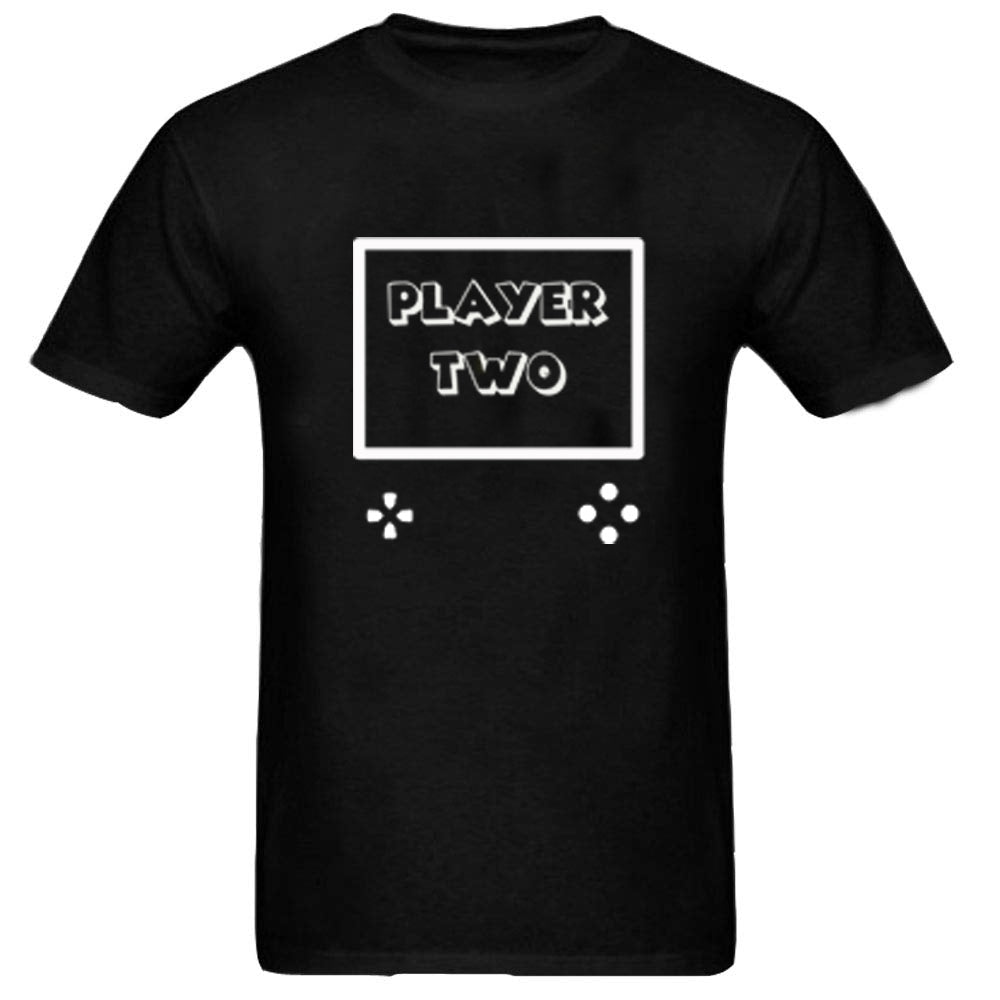 Sprinklecart Men Kid Matching Player One Player Two Cotton T Shirts for Dad and Son (Black)