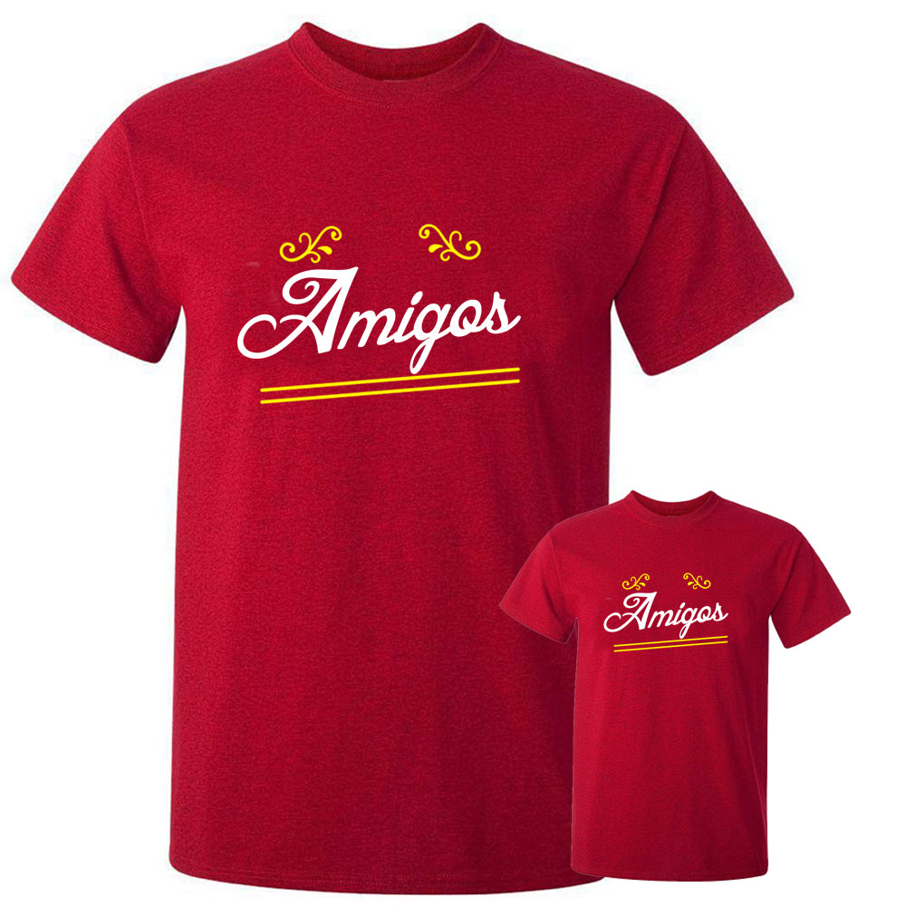 Sprinklecart Matching Amigos Women Men Cotton T Shirt Set for Dad and Kid (Red)