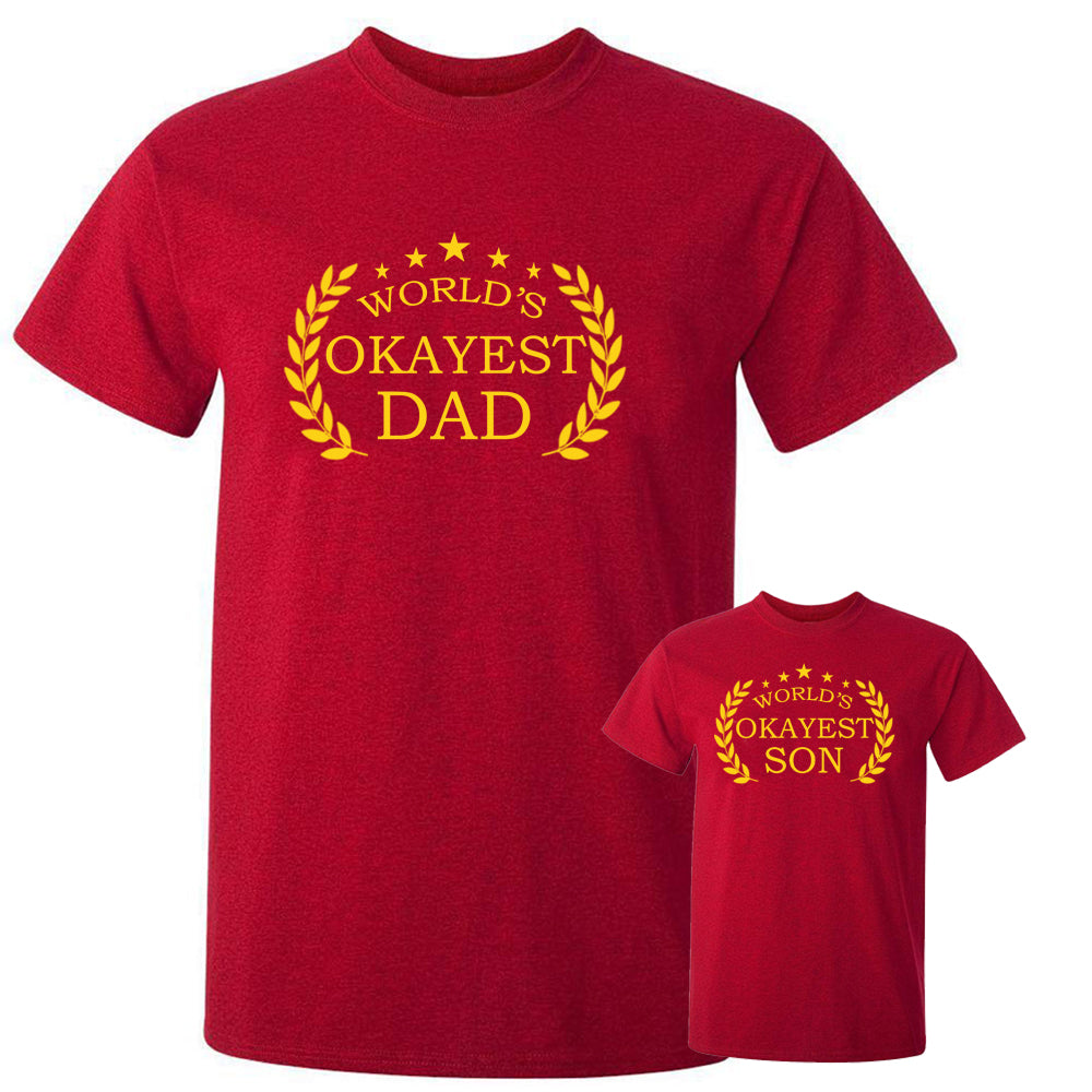 Sprinklecart World's Okayest Dad World's Okayest Son Printed Men Kid Matching Cotton T Shirt for Dad and Son (Red)