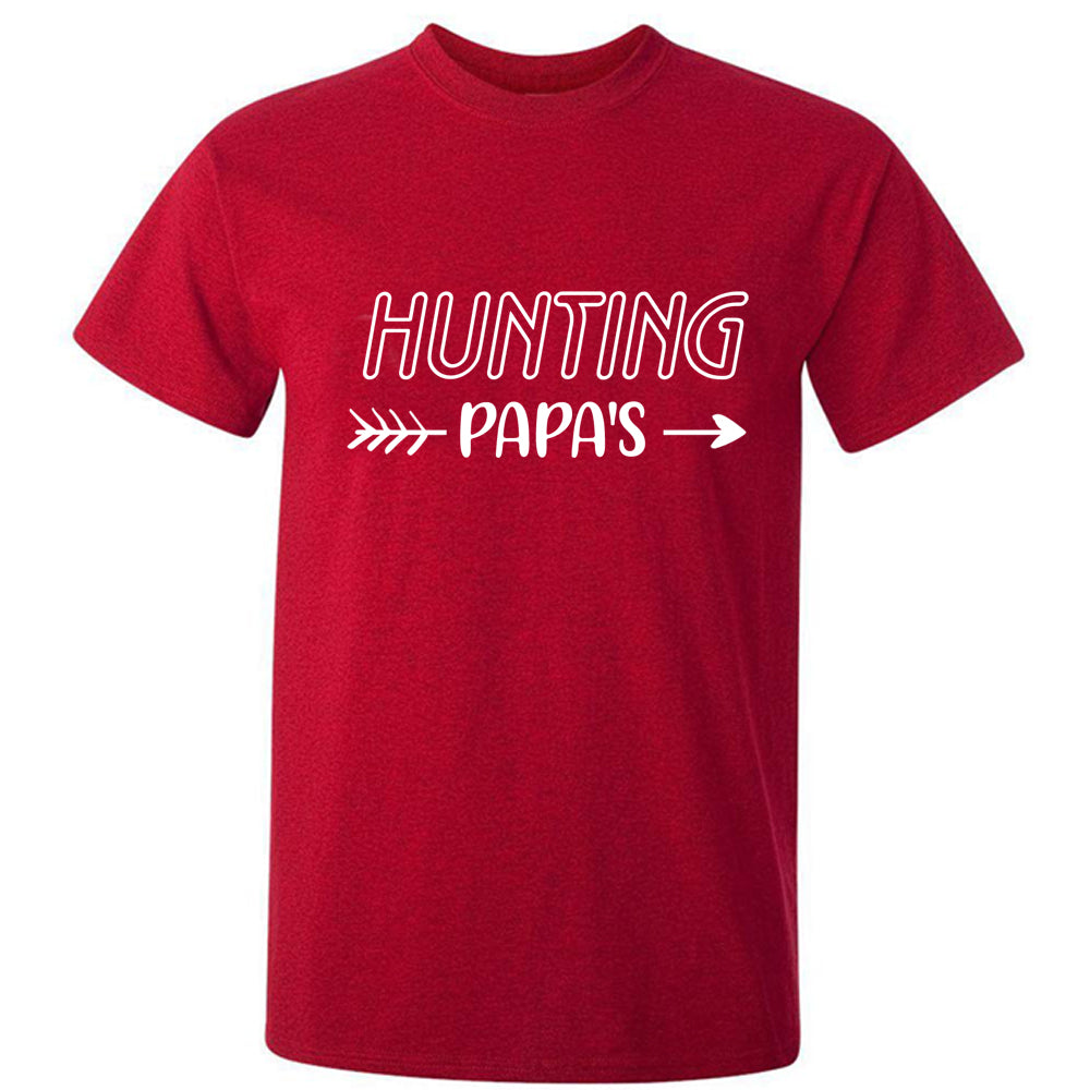 Sprinklecart Hunting Papa Papa's Future Hunting Buddy Matching Men Kid T Shirt Sets (Red)