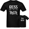 Sprinklecart Boss Man Mini Boss Cotton Men Kid T Shirts Combo for Dad and Son (Black)
