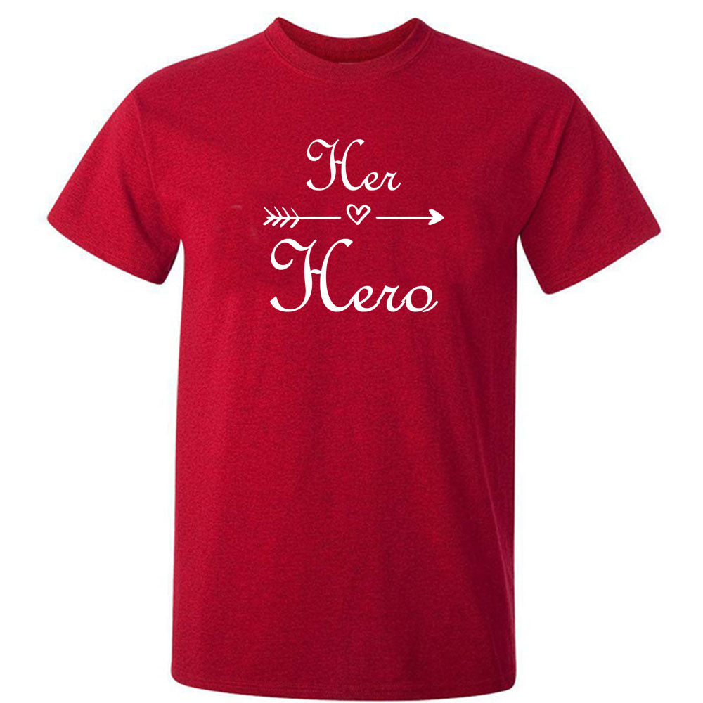 Sprinklecart Her Hero His Girl Matching Men Kid Cotton T Shirt Set for Dad and Daughter (Red)