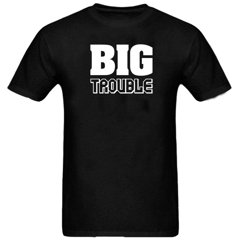 Sprinklecart Awesome Big Trouble Lil Trouble Printed Matching Men Kid Cotton T Shirts for Dad and Kid (Black)
