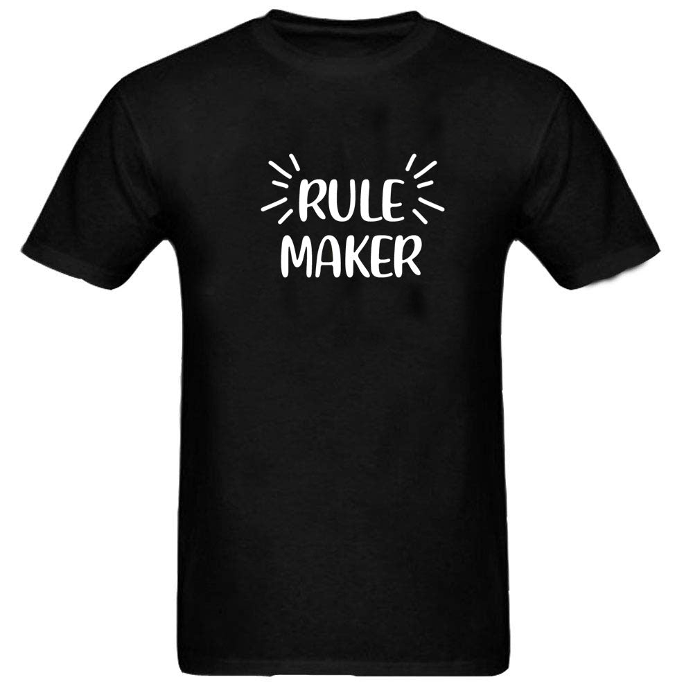 Sprinklecart Rule Maker Rule Breaker Matching Funny Cotton Men Kid T Shirt Combo for Dad and Kid (Black)