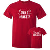 Sprinklecart Rule Maker Rule Breaker Matching Funny Cotton Men Kid T Shirt Combo for Dad and Kid (Red)