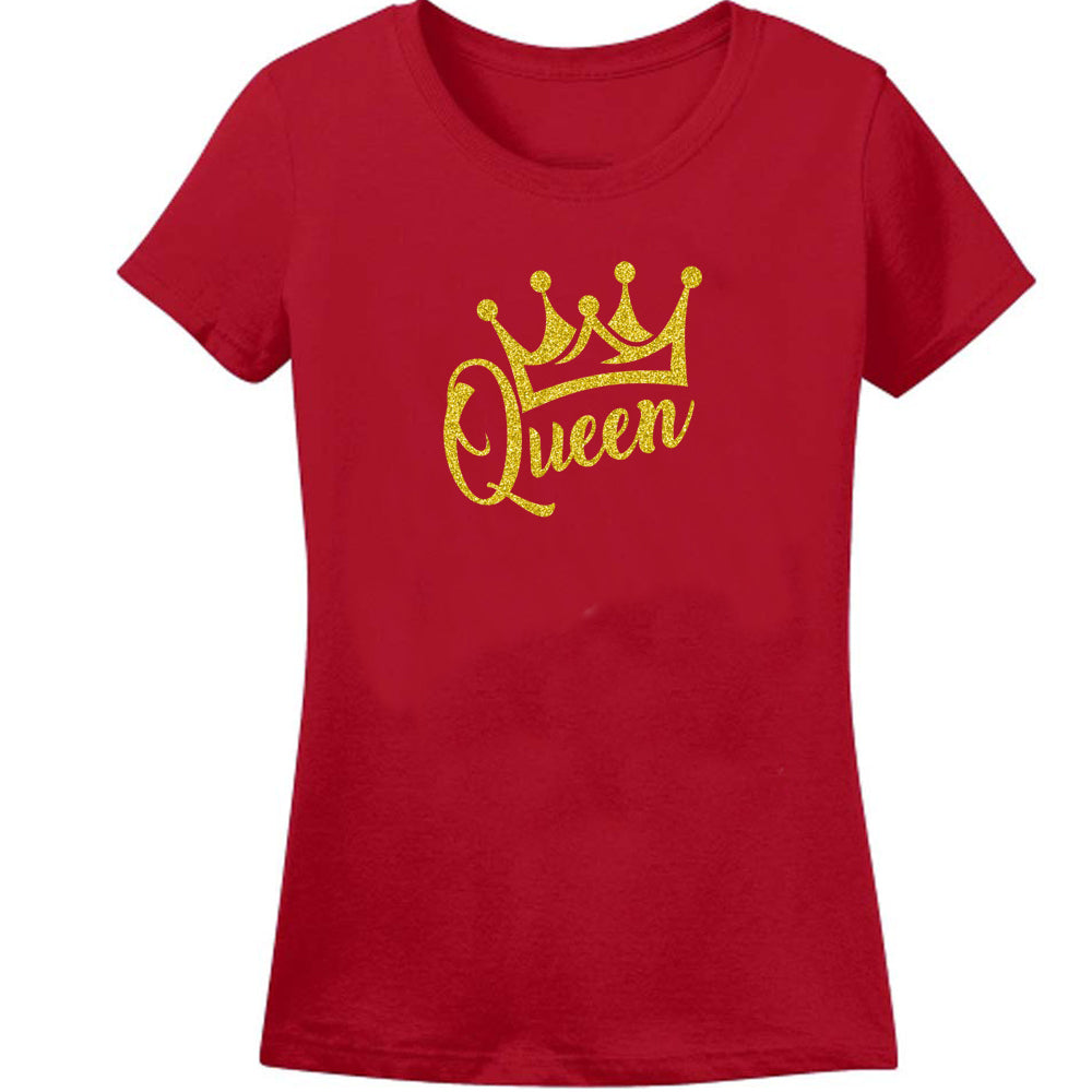 Sprinklecart Queen Princess Printed T Shirt Set for Mom and Kid | Red Cotton T Shirts Combo