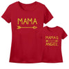 Sprinklecart Matching Mama Mama's Angel T Shirt | Set of 2 Red Cotton T Shirt for Mom and Kid