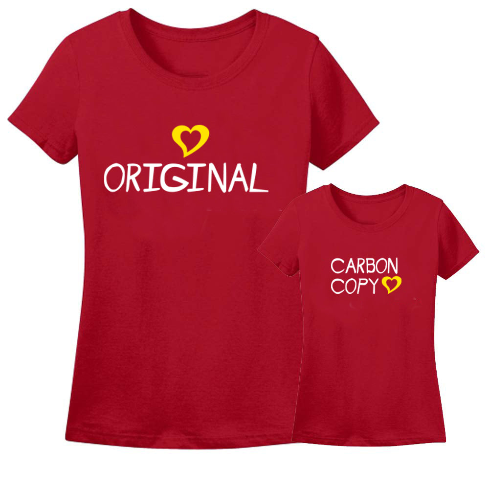 Sprinklecart Carbon Copy T Shirt Combo | Cool T Shirts for Mother and Kid (Red)