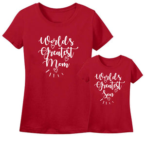 Sprinklecart World's Greatest Son World's Gtreatest Mom Matching Red Cotton T Shirt