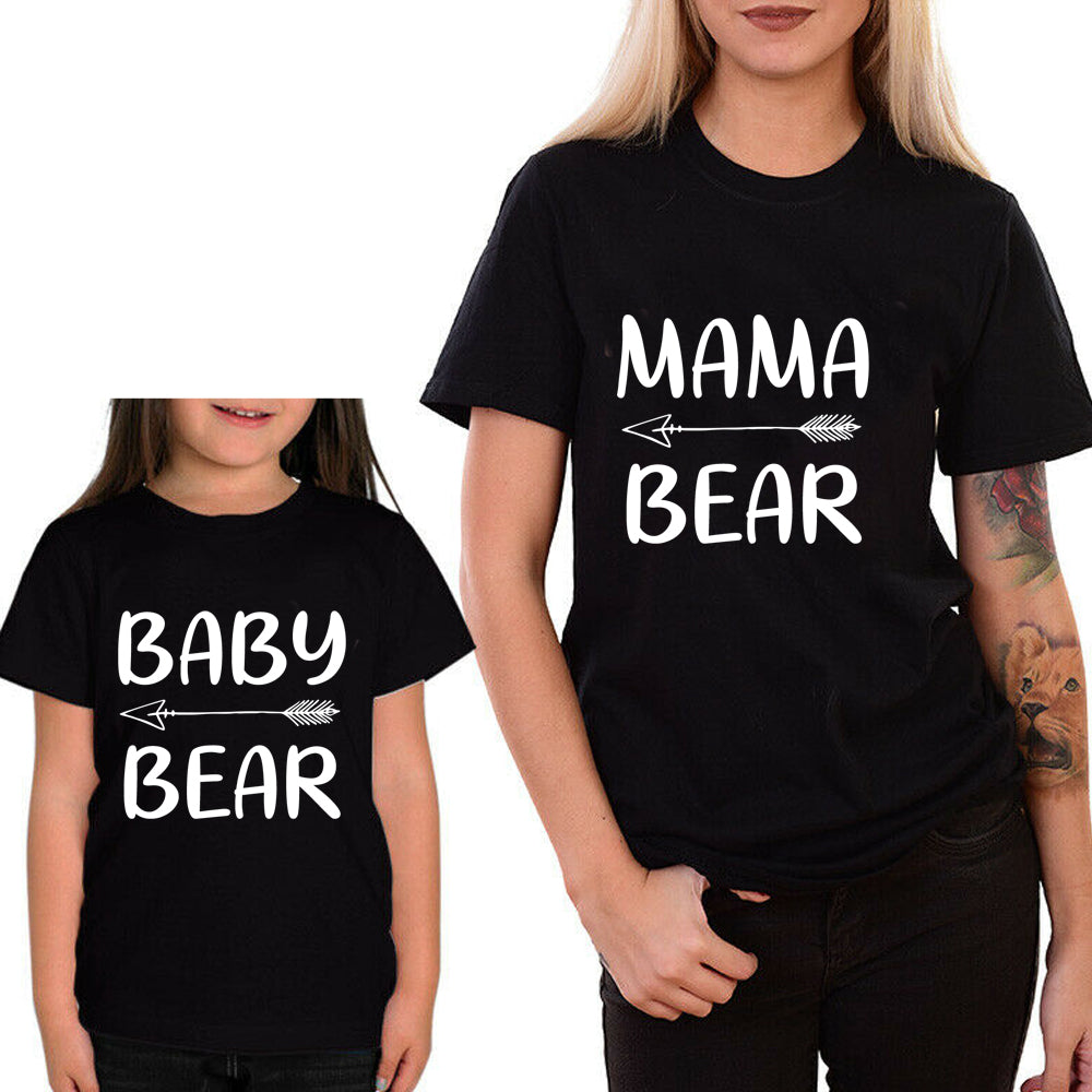 Sprinklecart Baby Bear Mama Bear T Shirt | Combo of 2 Black T Shirts for Mother and Kid