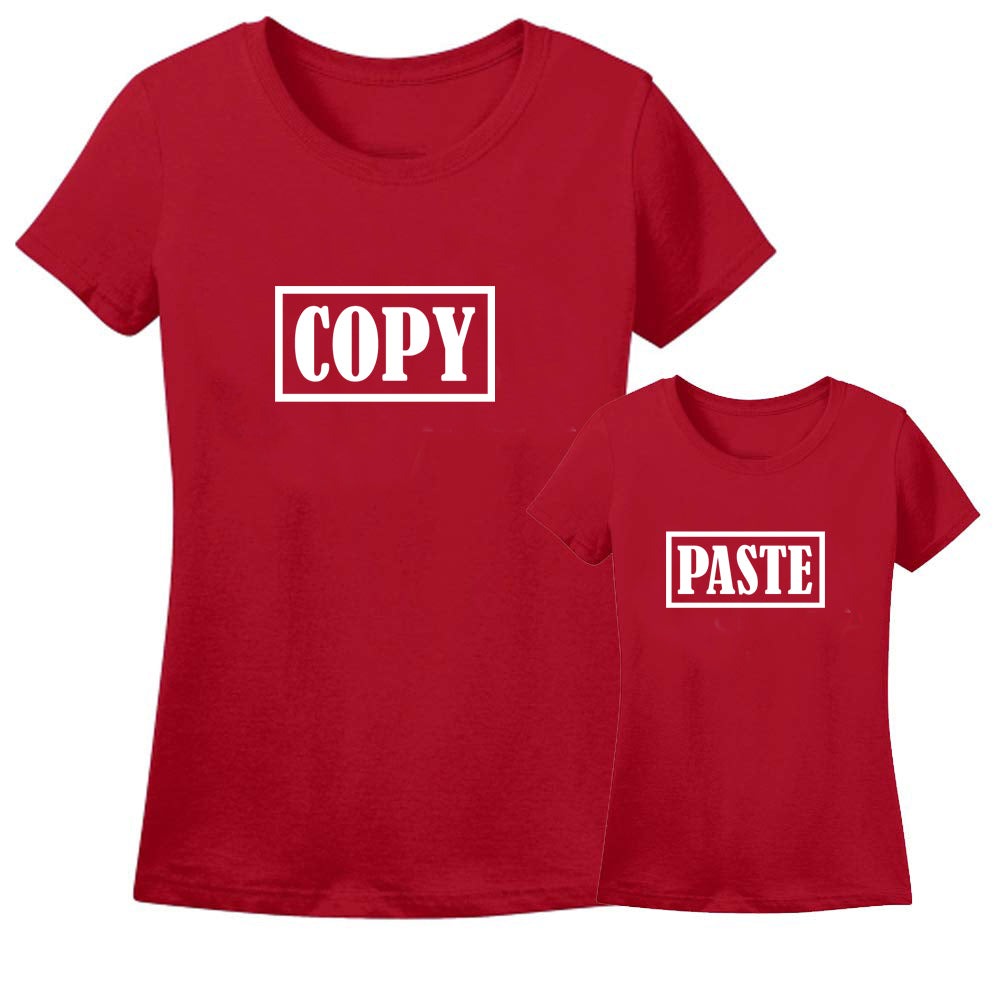 Sprinklecart Matching Copy Paste Red Cotton T Shirt | Pack of 2 T Shirt for Mother and Son