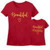 Sprinklecart Matching Beautiful | Beautiful Just Like My Mummy Printed T Shirt | Pack of 2 Red T Shirt