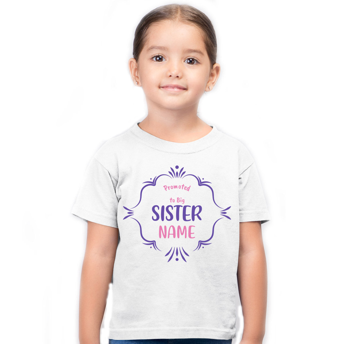 Sprinklecart Promoted to Big Sister Printed Personalized Name Printed Kids Poly-Cotton Tee (White)