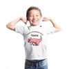 Sprinklecart Daddy's Roarsome Boy Printed Dinosaur Poly-Cotton T Shirt for Kids (White)