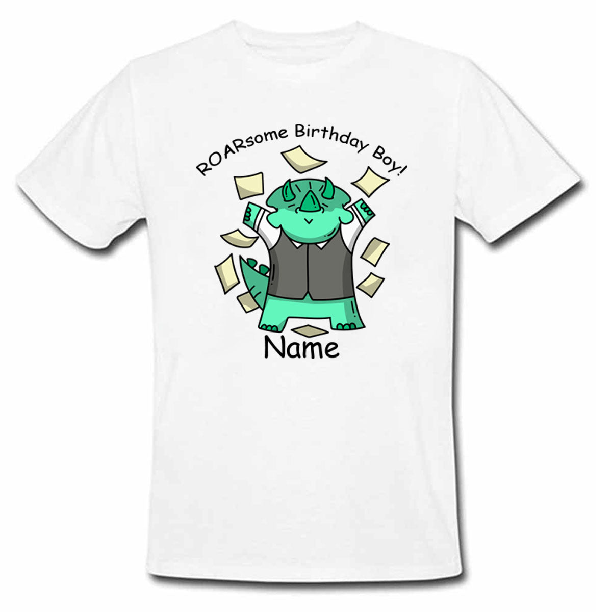 Sprinklecart Personalized Name Printed Dinosaur Poly-Cotton Kids T Shirt (White)