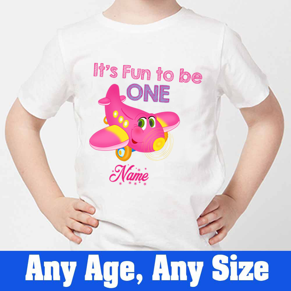 Sprinklecart It's Fun to Be One Printed Airplane Kid's Poly-Cotton T Shirt Wear (White)